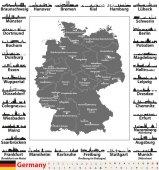 Fotografie Deutschland Karte mit Landeshauptstädten und größten Städte Skylines Silhouetten