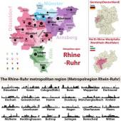 Die Rhein-Ruhr-Metropolkarte mit den größten Städten Skylines Silhouetten