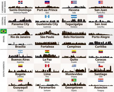 vector set of Central and South America cities abstract skylines silhouettes