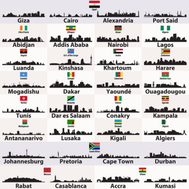 vector set of african cities abstract skylines silhouettes