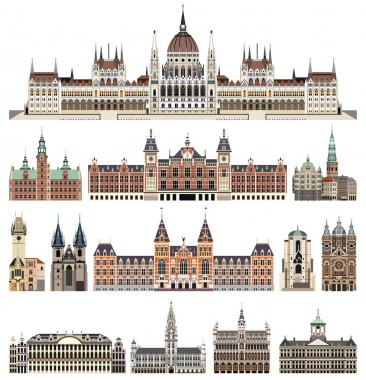 vector set of isolated cathedrals, palaces, houses, buildings,  and other cities street's skylines elements