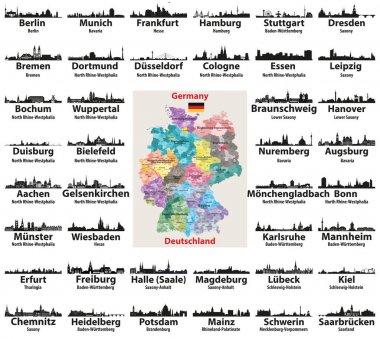 """Картина, постер, плакат, фотообои """"карта германии с векторными силуэтами крупнейших городов """", артикул 191064530"""