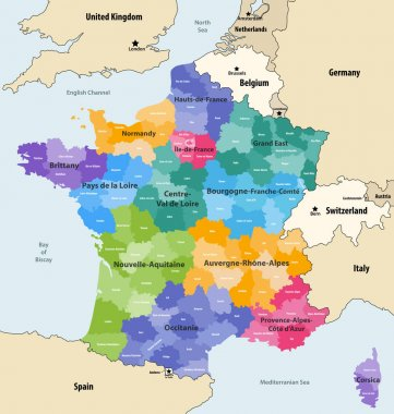 France administrative regions and departments vector map with neighbouring countries and territories