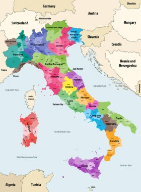 Italy provinces colored by regions vector map with neighbouring countries and territories