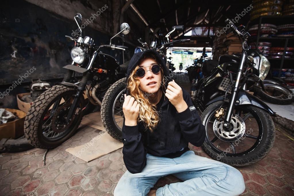 Urban Style Girl In Grunge Garage Stock Photo C Apid 128104706