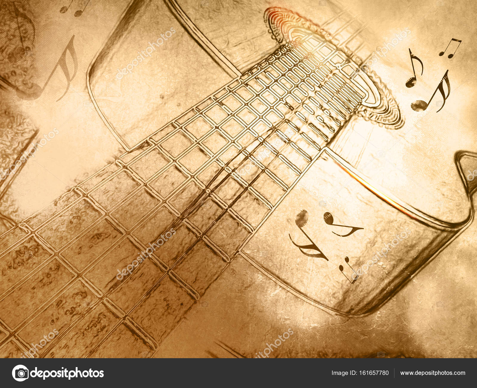 Retro Music Background With Guitar In Vintage Drawing