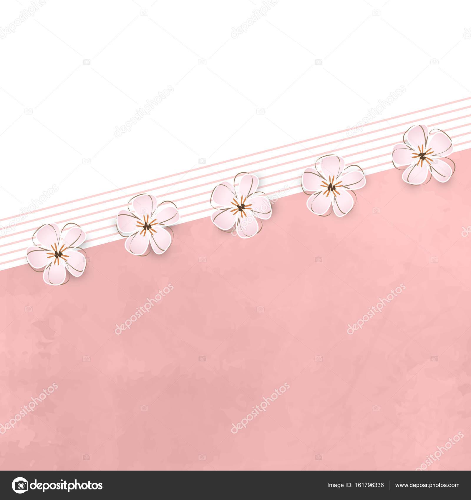 Floral Greeting Card Soft Pink Flower Border Frame Background