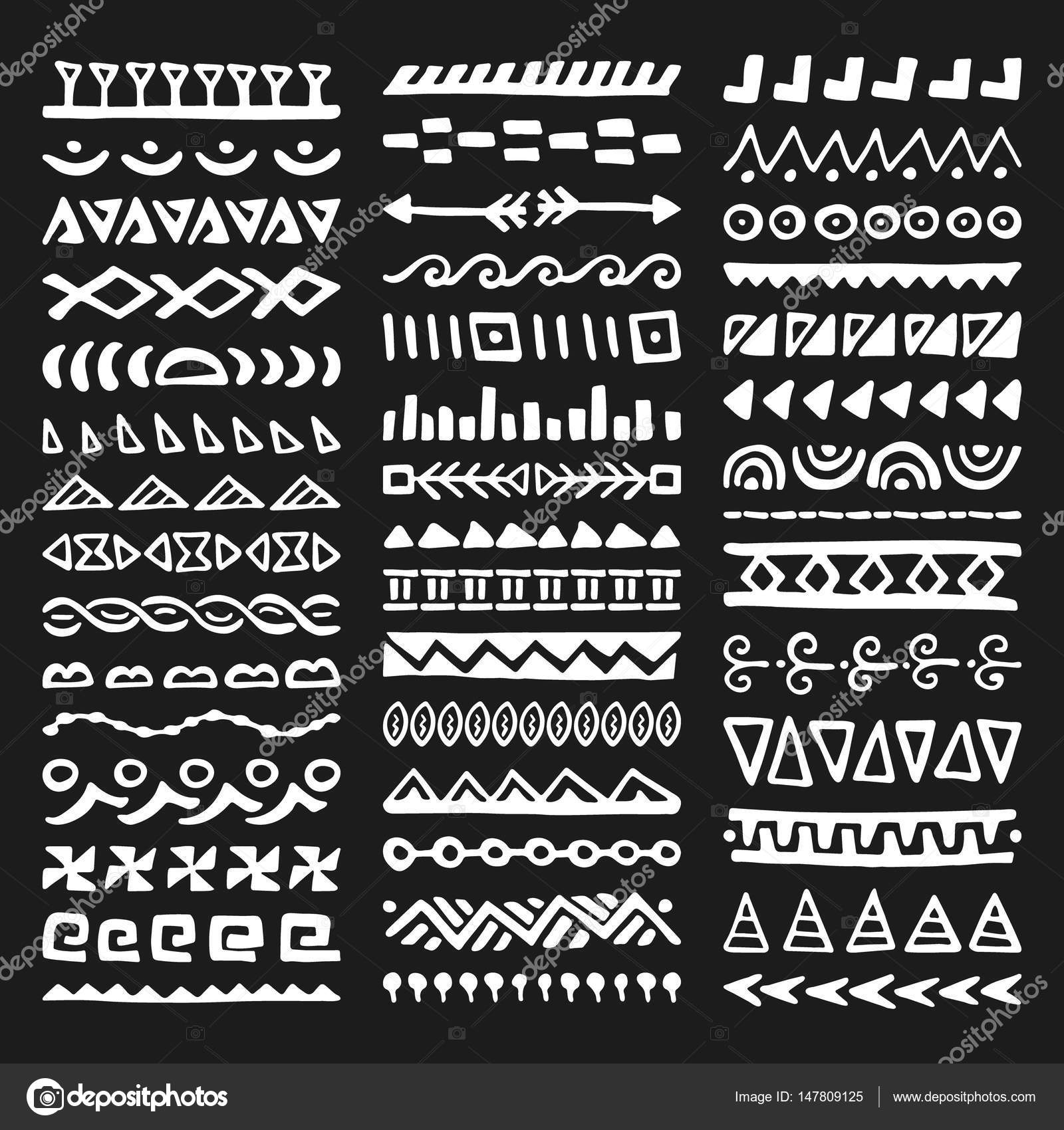 816e88665c4d8 Collection of Hand Drawn Borders in Ethnic Style. Aztec art dividers.  Trendy boho separators. — Vector by ...