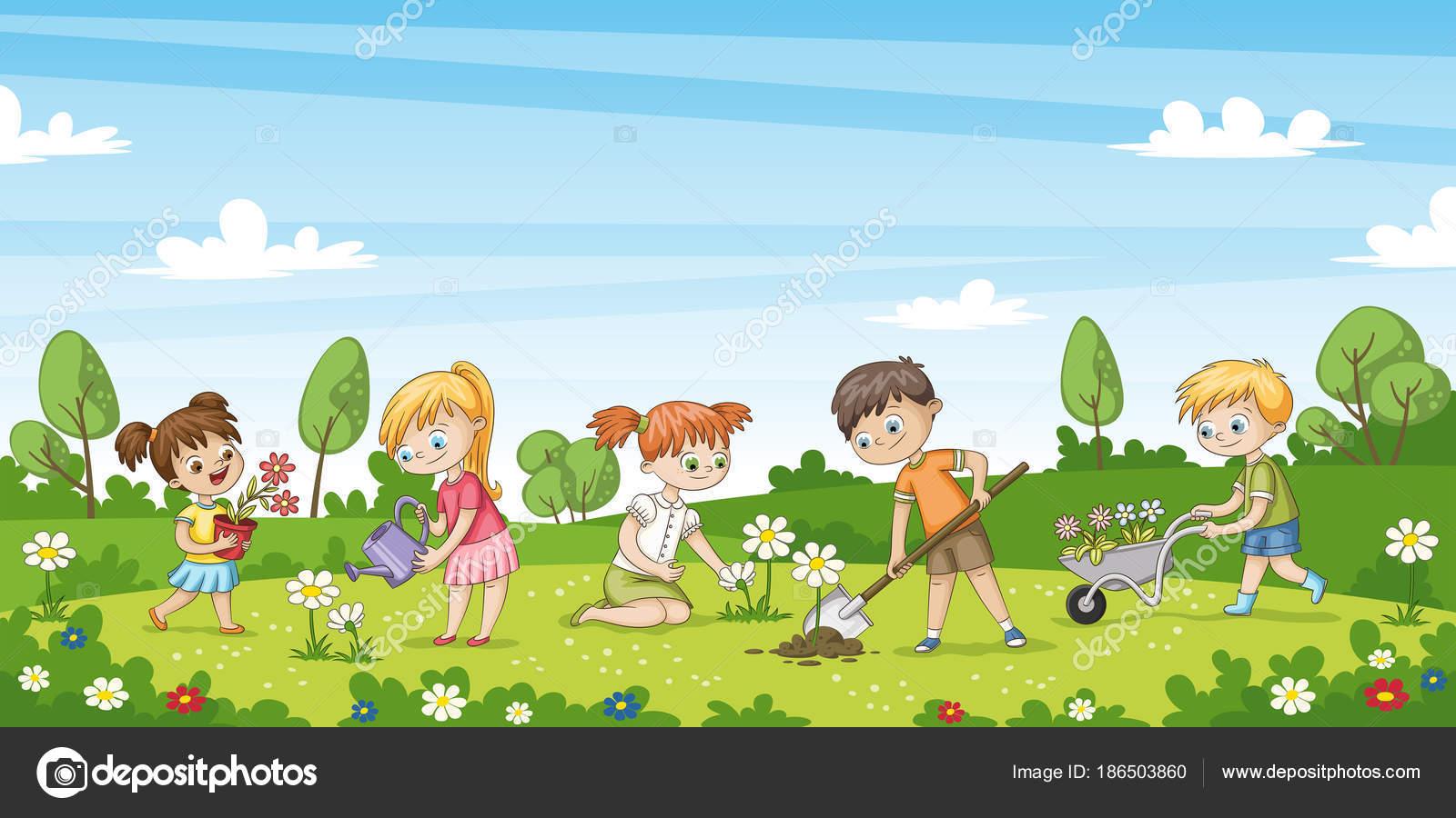 Niedliche Kinder Arbeiten Im Garten Lustige Comic Figur