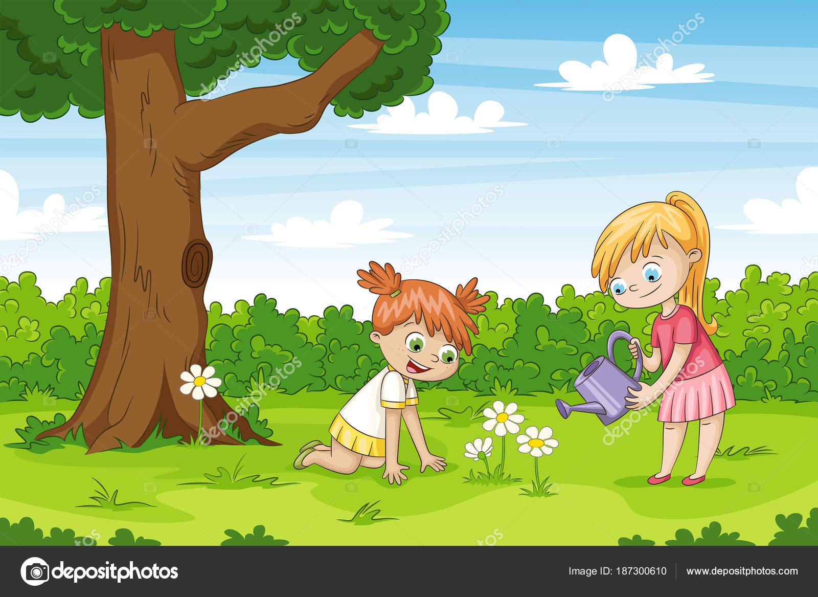 Zwei Madchen Im Garten Lustige Comic Figur Stockvektor C G Wolf