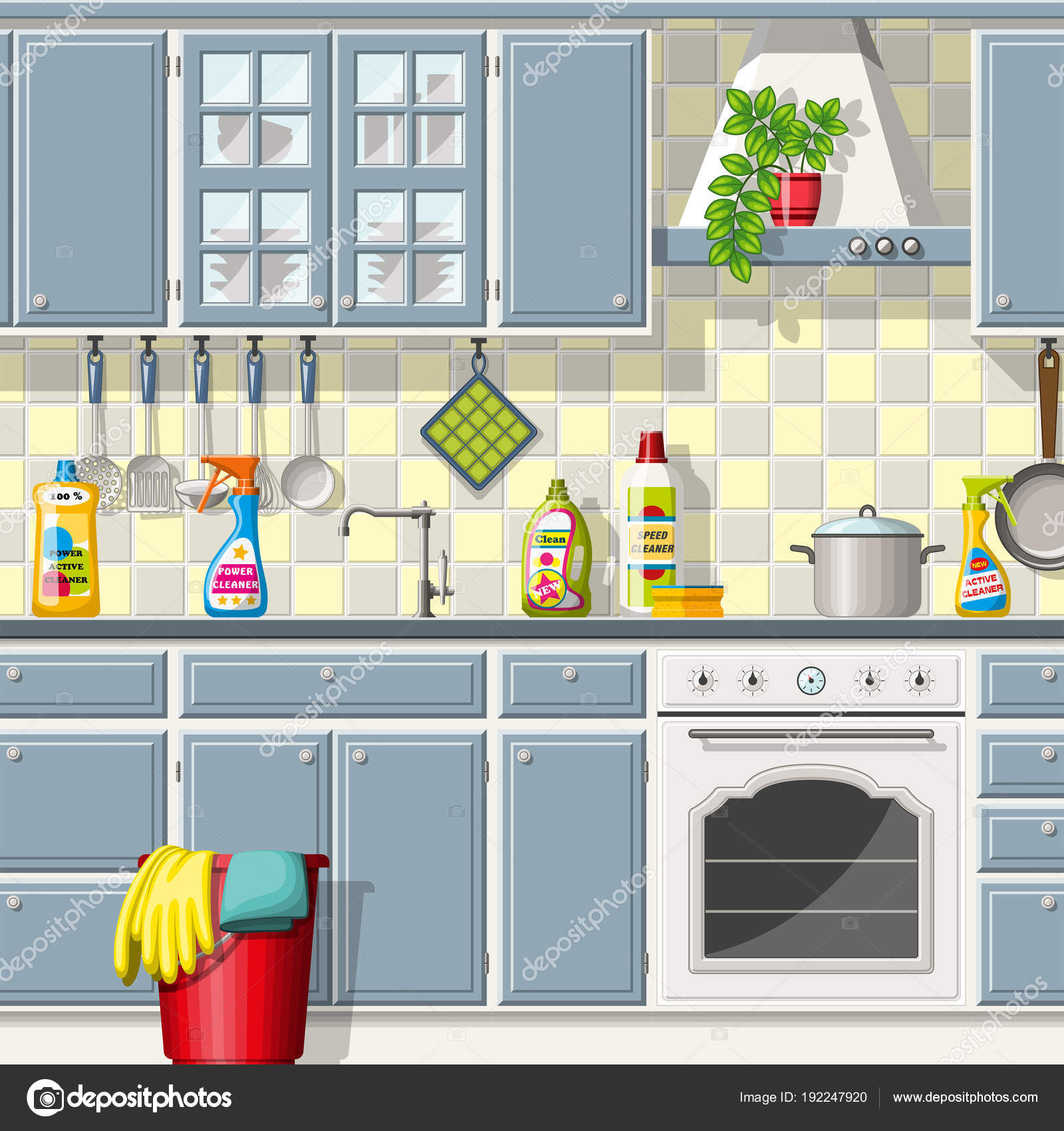 Kitchen with different cleaning agents — Stock Vector © G.Wolf ...