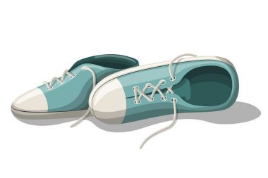 Blue Sneakers. Vector Illustration.