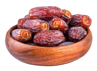 Dried dates. Bowl with dry dates isolated on white