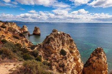 View of beautiful coastline Algarve Portugal