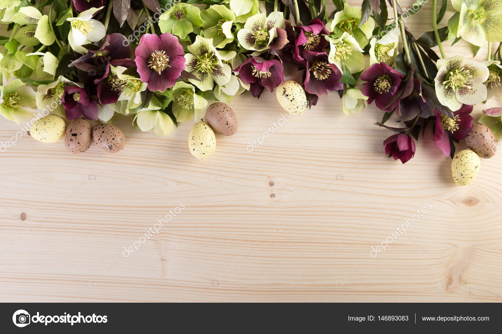 Spring Flowers Background With Easter Decoration Pastel Color