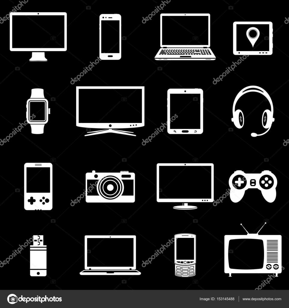 Abstraktes Vektor-Set digitaler Geräte und elektronische Geräte ...