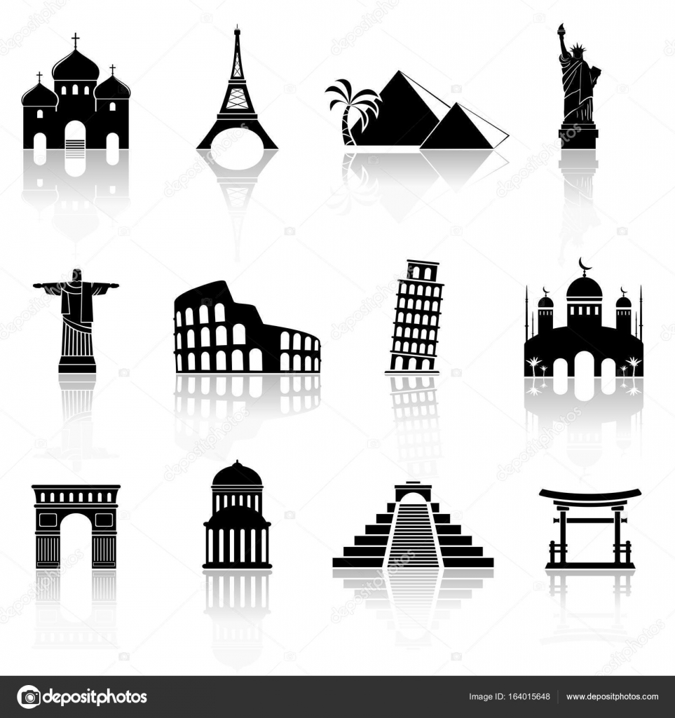 World famous buildings abstract silhouettes Stock Vector fad82