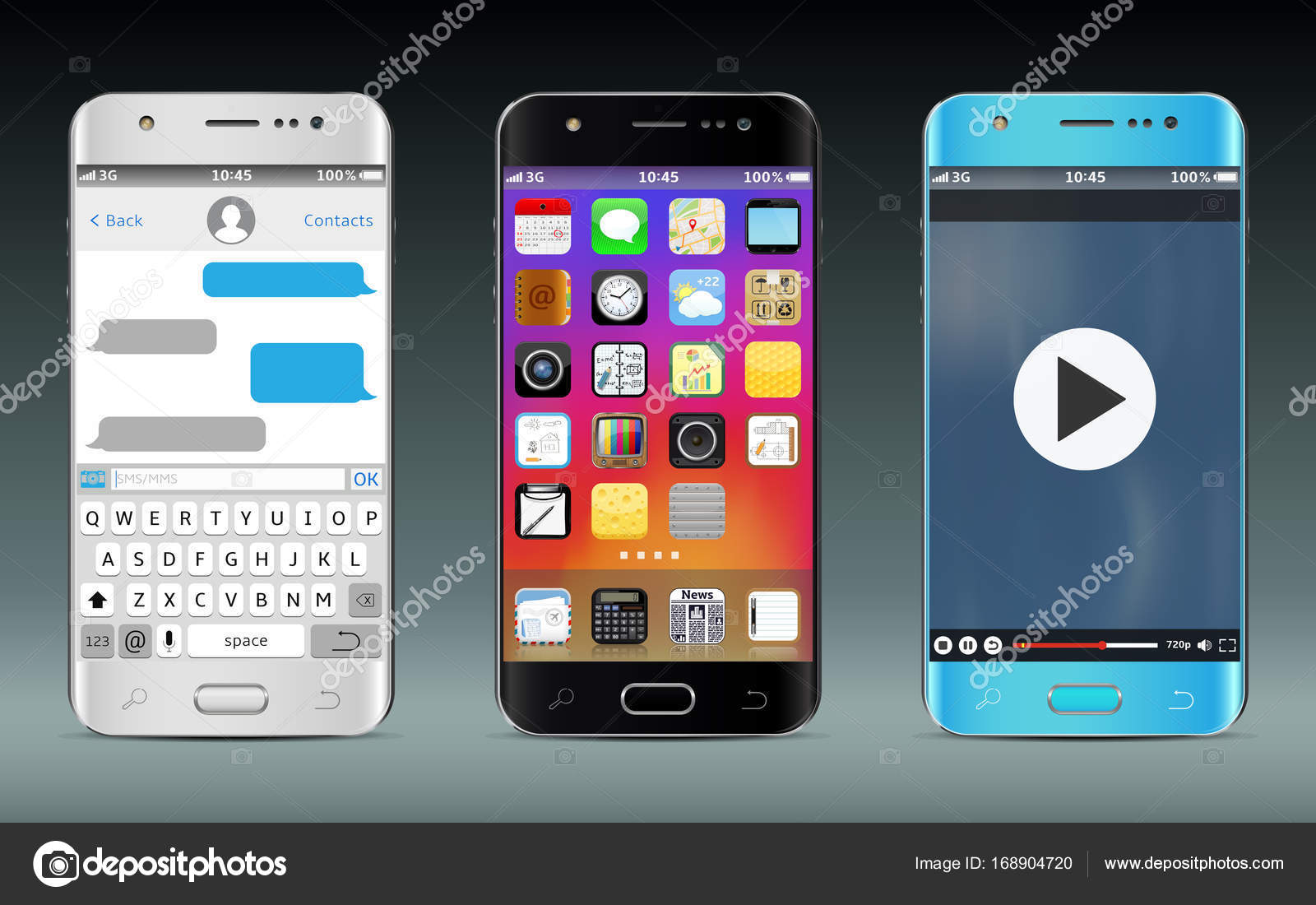 Smart phones with icons, messaging sms app and video player widget