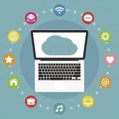Cloud computing plochý design koncept