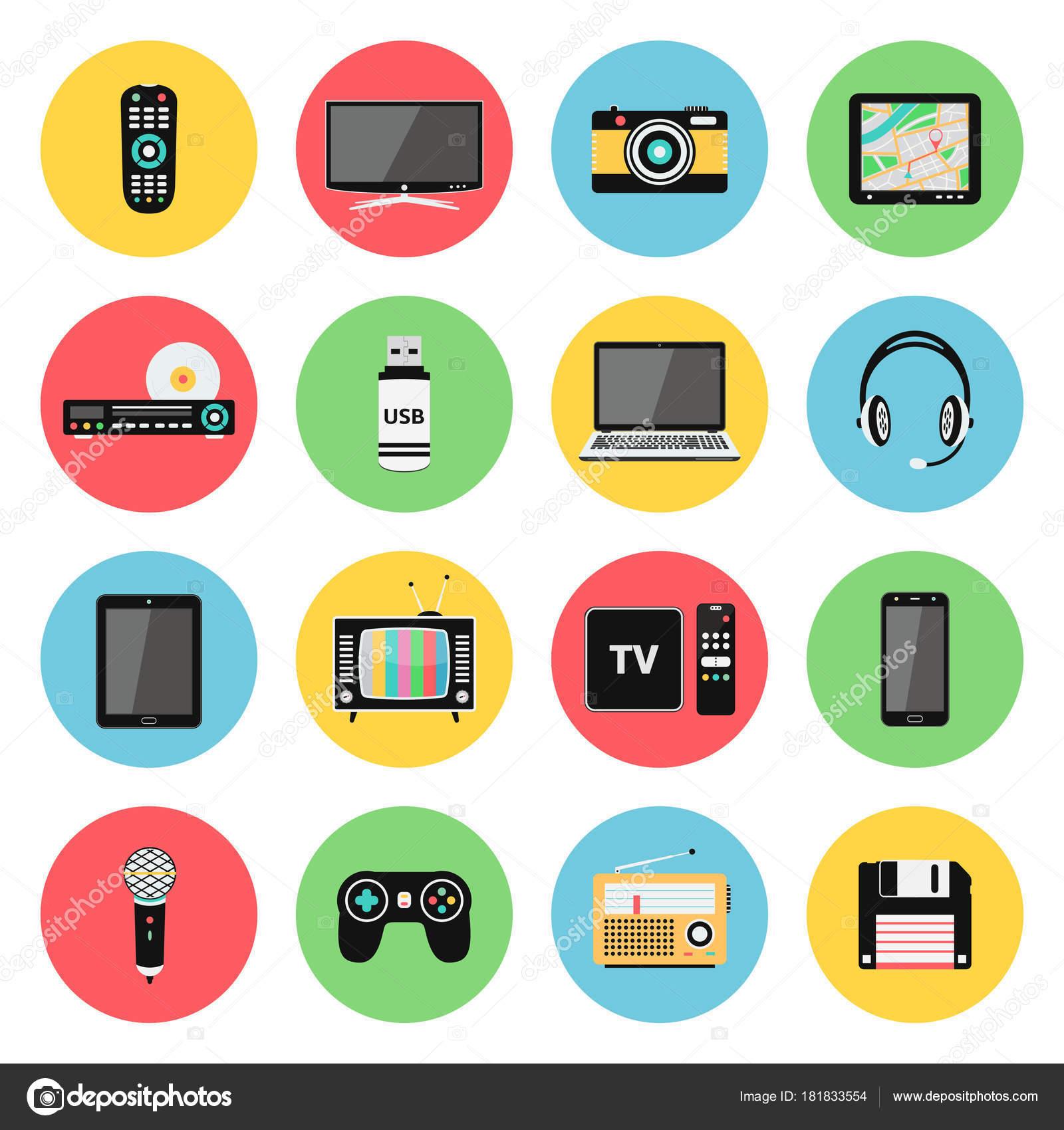 Elektronische Geräte, Technik-Gadgets-Symbole — Stockvektor © fad82 ...