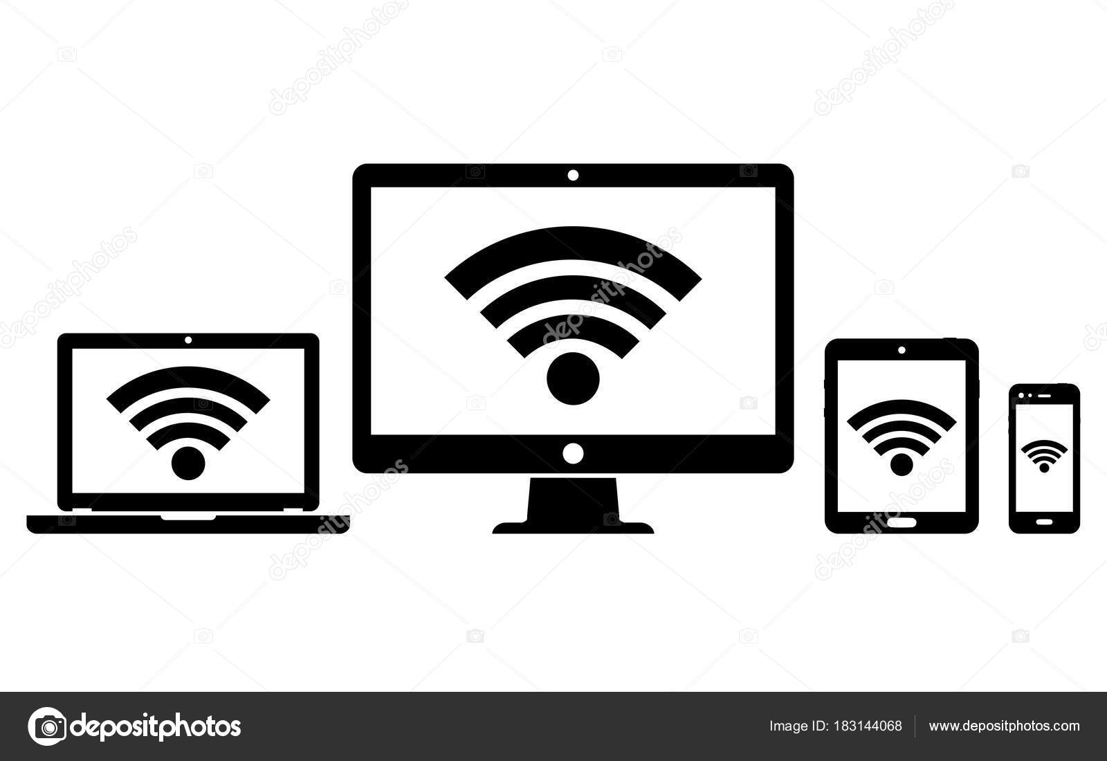 Digital devices with wifi internet connection symbol stock computer display laptop tablet and smartphone icons with wifi internet connection symbol vector illustration vector by fad82 buycottarizona Images