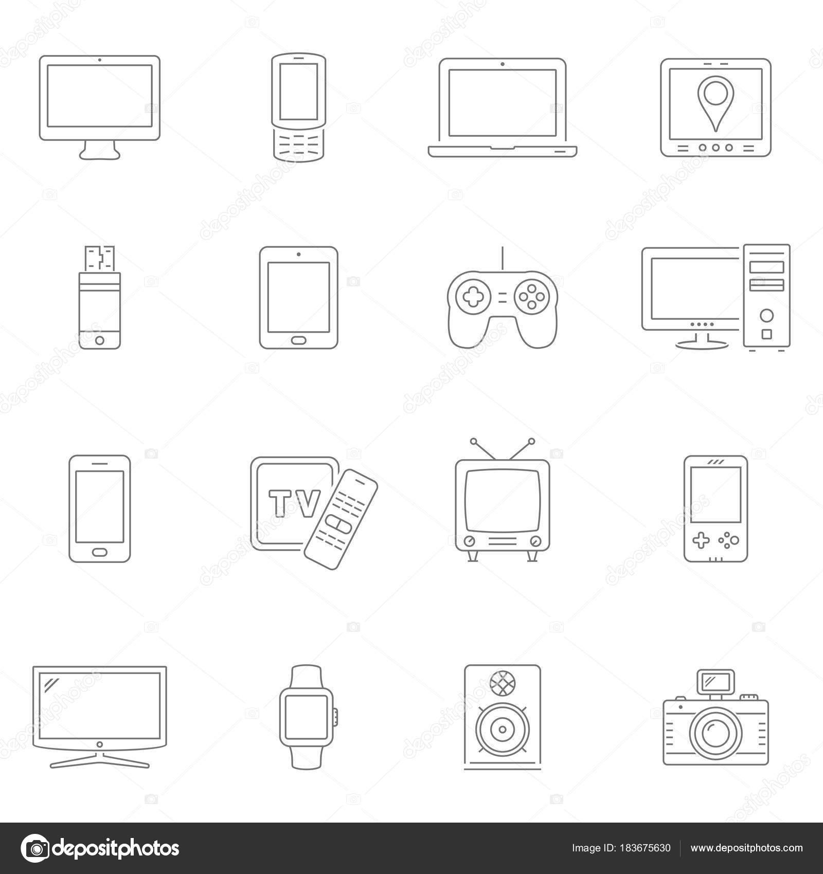Elektronische Geräte dünne Linie Symbole. Vektor-Geräte ...