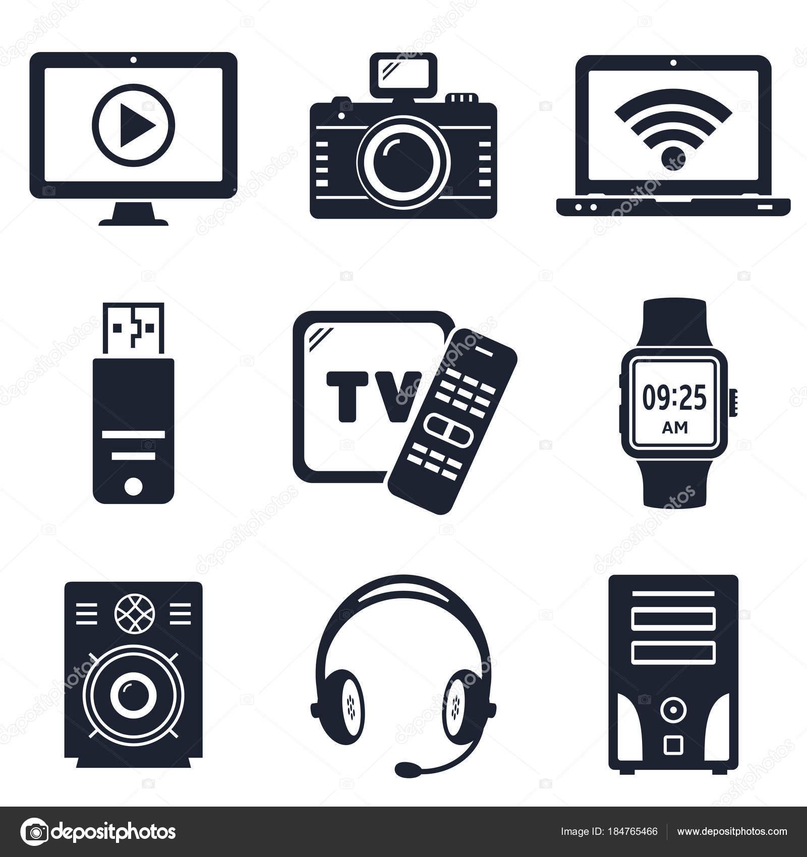 Moderne Geräte und elektronische Geräte Symbole — Stockvektor ...
