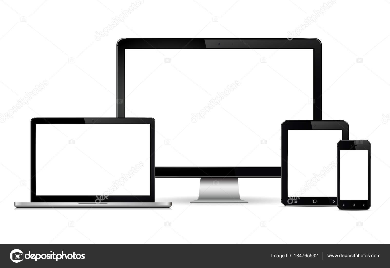 Monitor de computadora realistas, ordenador portátil, teléfonos ...