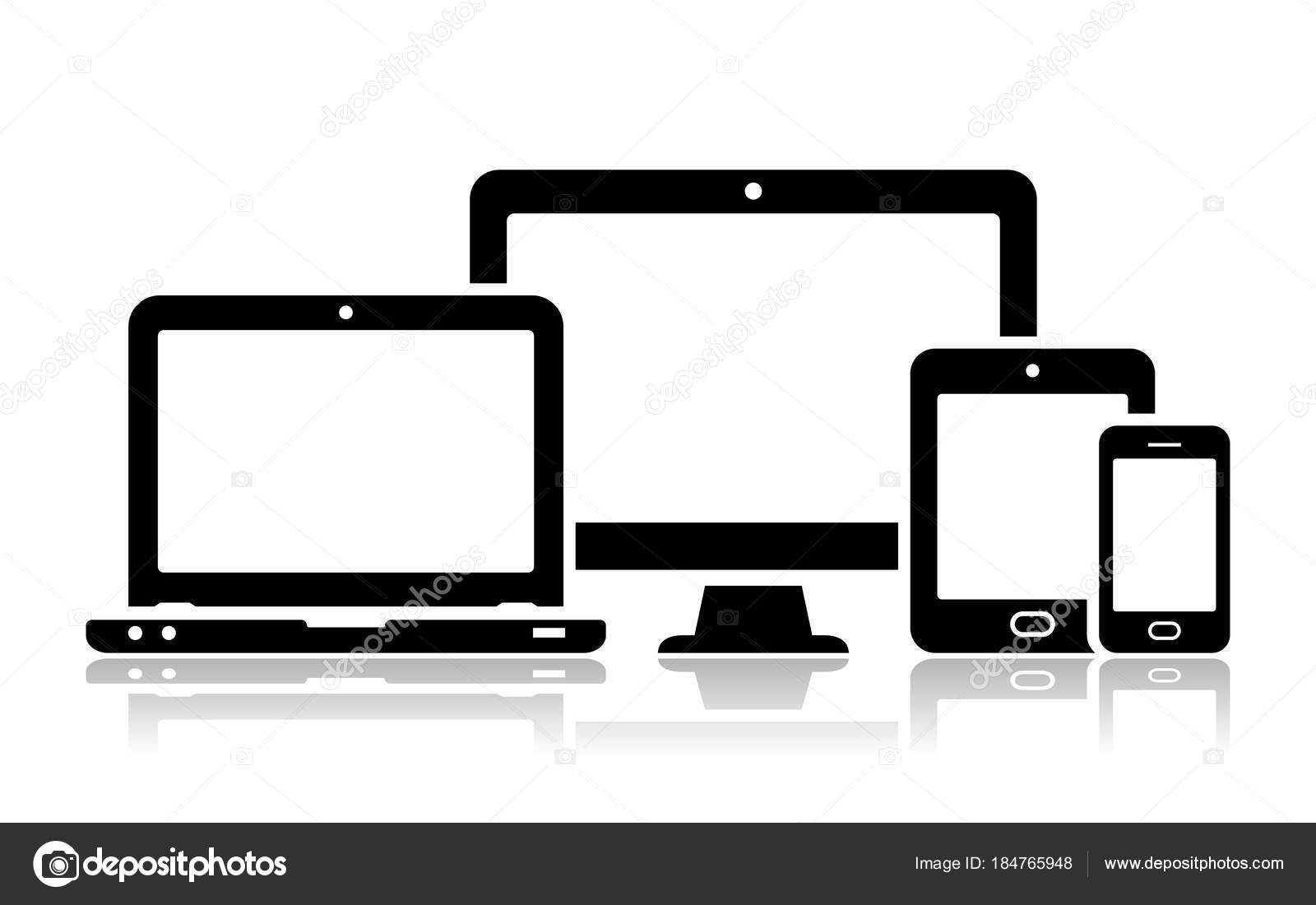 Mobile Phone, Tablet, Laptop And Desktop Computer Icons