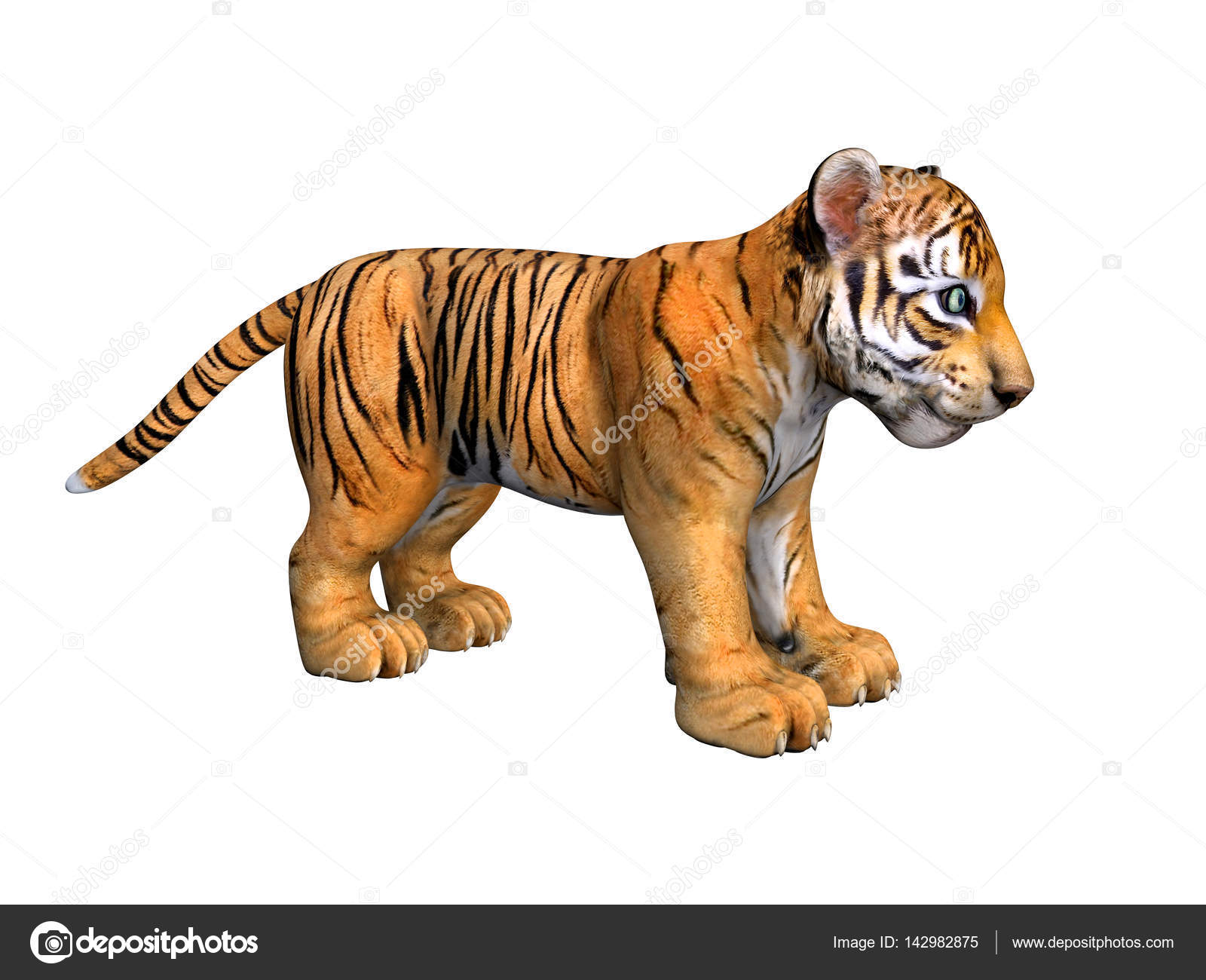 Cute tiger cub 3d image isolated on white stock photo cute tiger cub 3d image isolated on white background photo by ladybirdannad altavistaventures Gallery