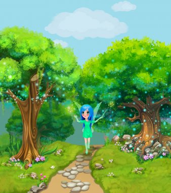 Fairy walking on a path through the magical forest. Illustration