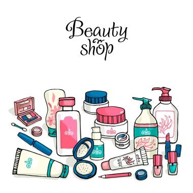 Vector hand drawn template make-up products. Cosmetics background corporate for identity beauty shop.
