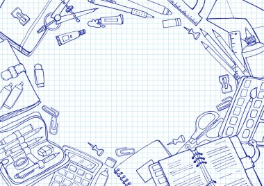 Vector sketch back to school background. Doodle illustration of stationery on squared paper with copyspace.