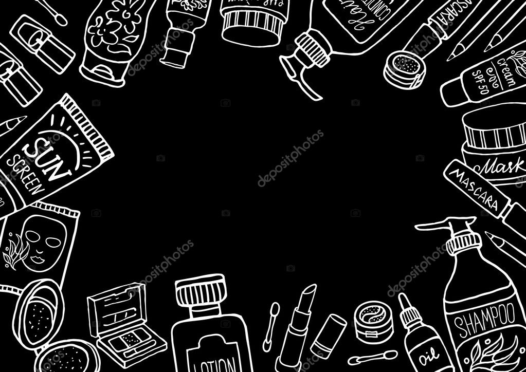 Hand Drawn Make Up Products Template On Blackboard Cosmetics Background For Corporate Identity Beauty Shop Printed Materials Brochures Folder Flyers Banners Stock Vector C Schiva 125577506