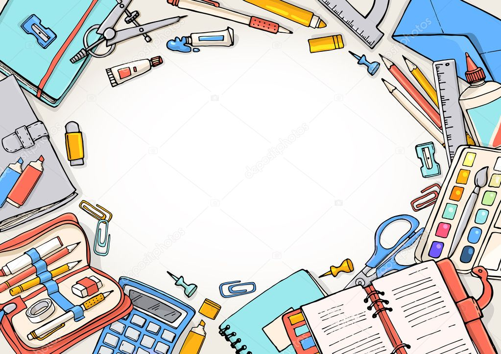 Vector Sketch Back To School Background Template Of Stationery