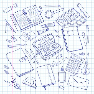 Vector sketchy stationary set. Office and school supplies on squared paper.