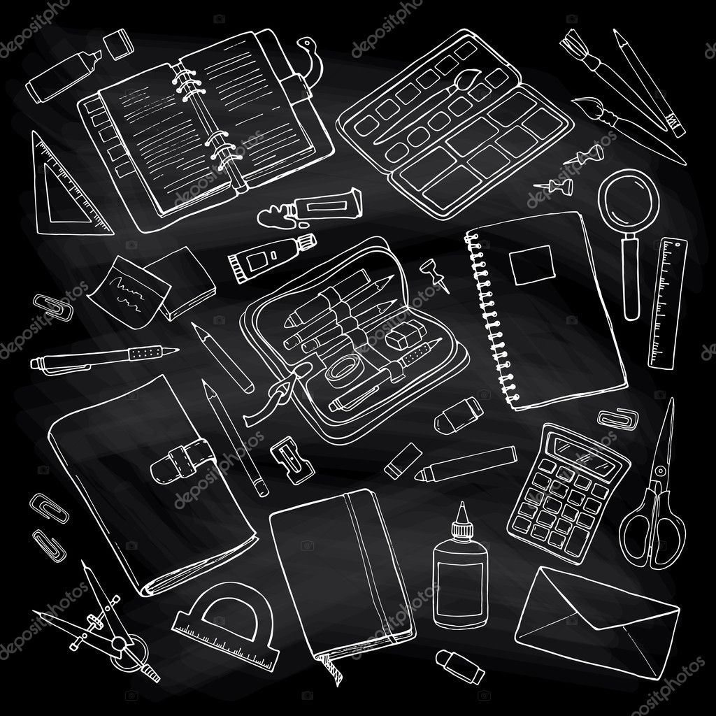 Vector sketchy outline drawing stationary set on blackboard vector sketchy outline drawing stationary set on blackboard vetores de stock ccuart Images