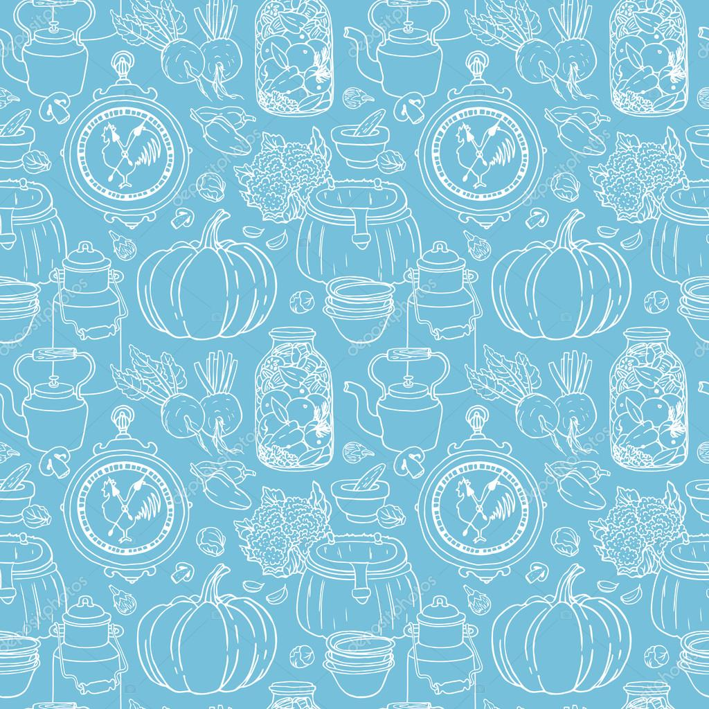 Vector Seamless Pattern With Hand Drawn Rustic Vegetables Canned Dishes Blue Color Sketchy Country Background By Schiva