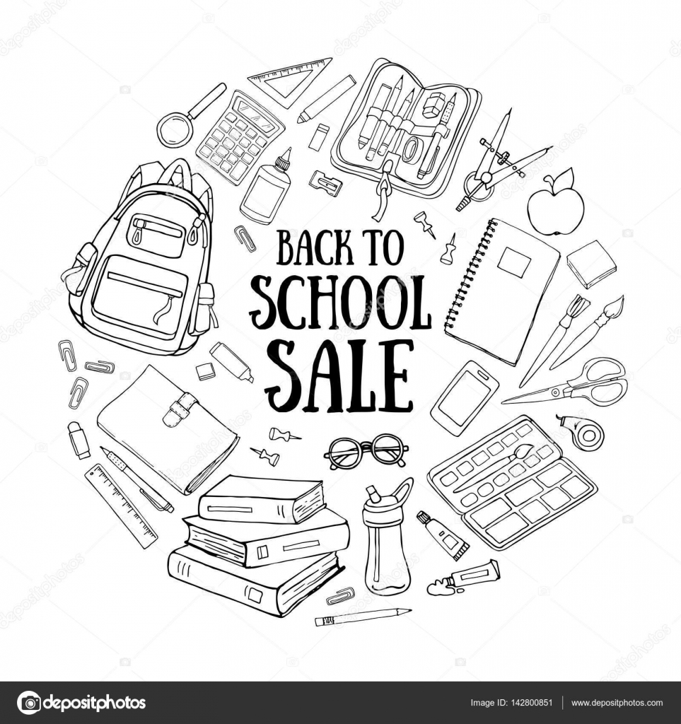 back to school doodle illustration template isolated on white