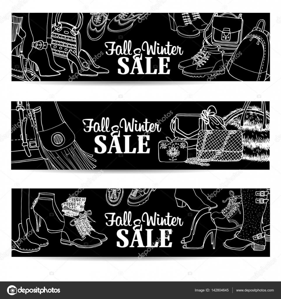 Ilustración de conjunto zapatos y bolsos de mujer de carteles de ...