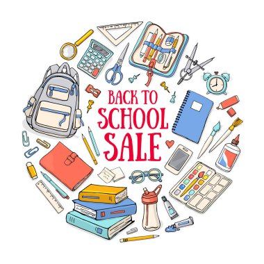 Back to school illustration template on squared paper. Sketchy concepts with stationery for graphic design, web banner and printed materials.