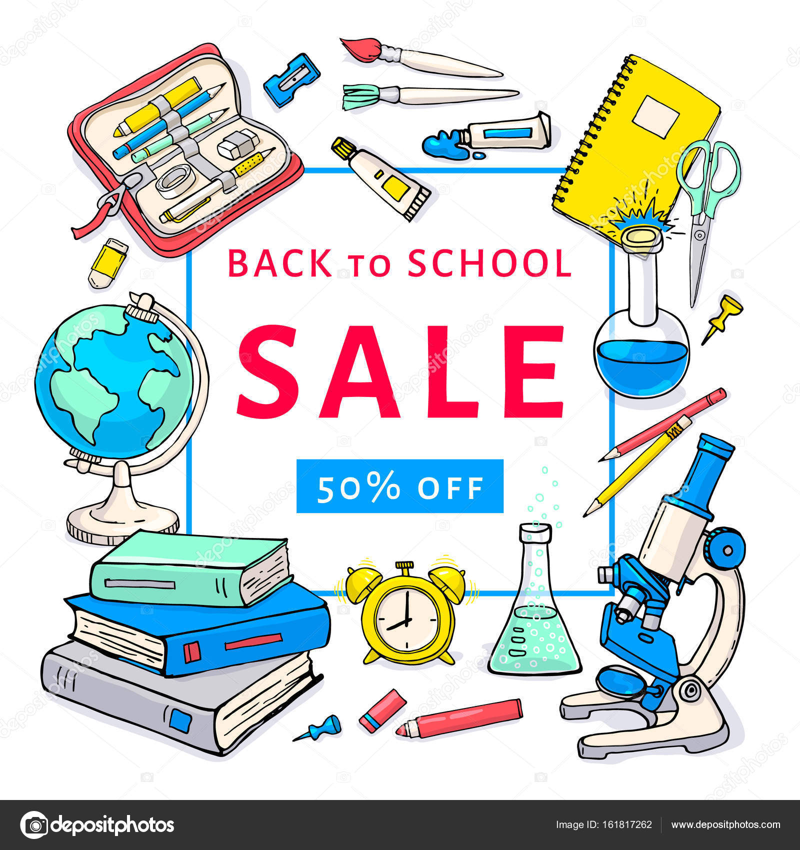 Back To School Sale Flyer Template Stock Vector Schiva 161817262