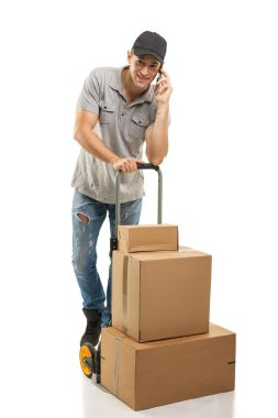 courier with phone delivers parcels