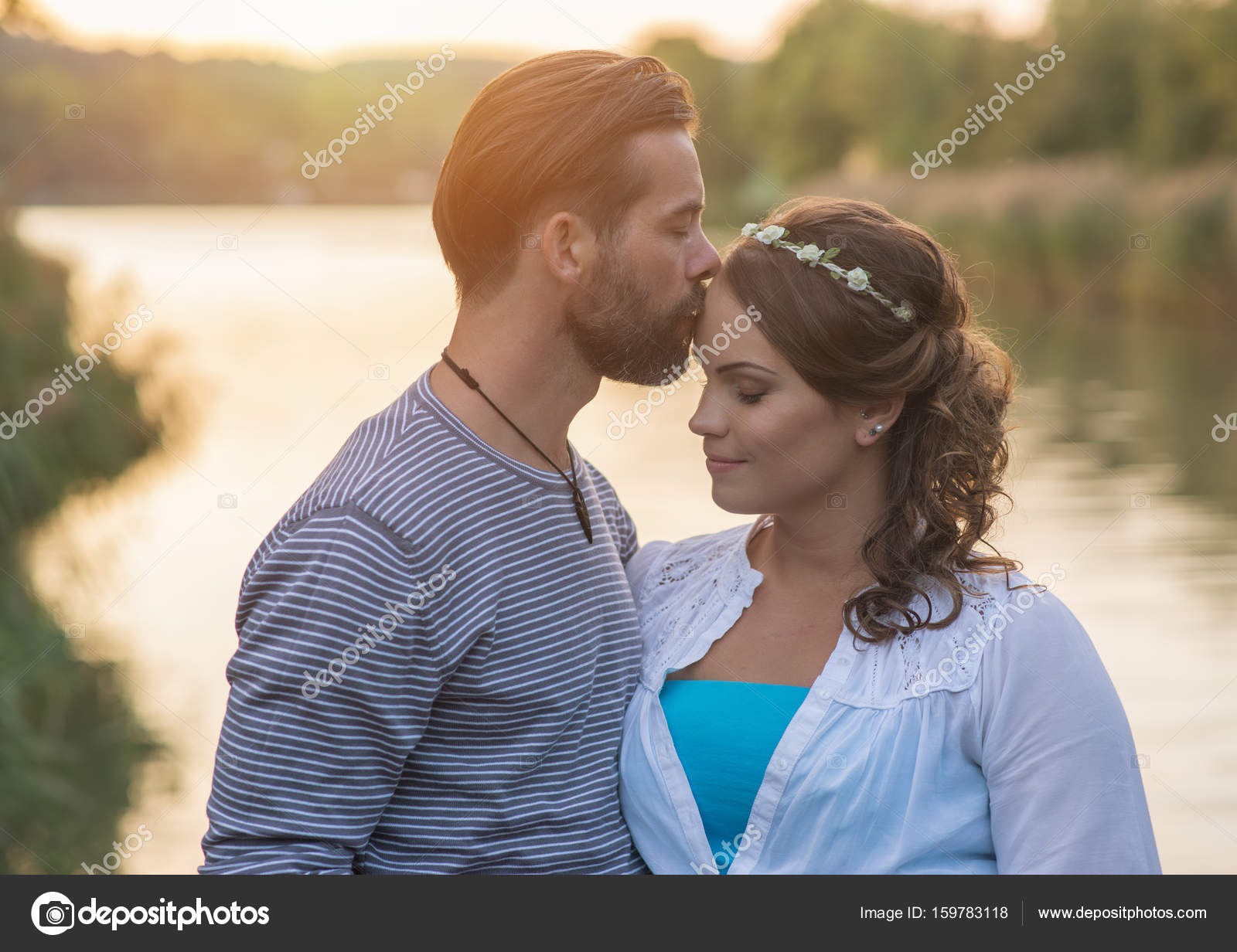 Lovely Couple Kissing Near Lake Stock Photo C Geribody 159783118