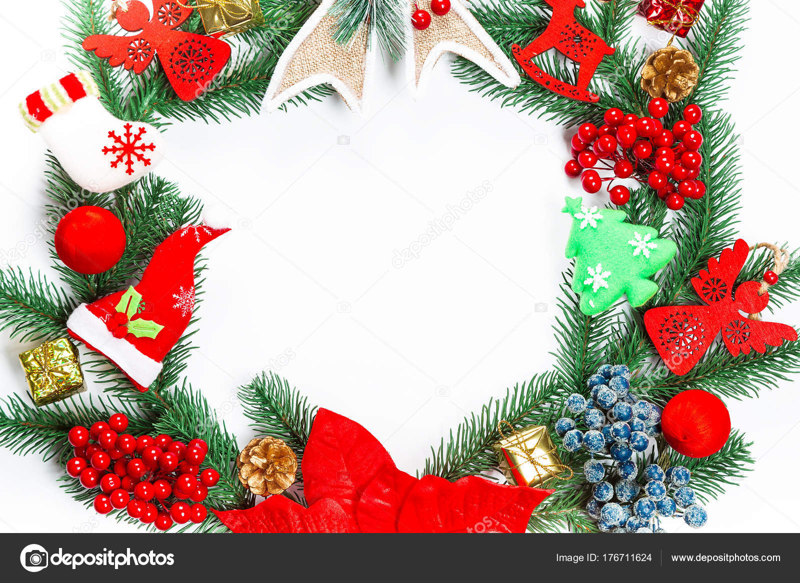Christmas wreath with decorations, branch of Xmas tree on white ...