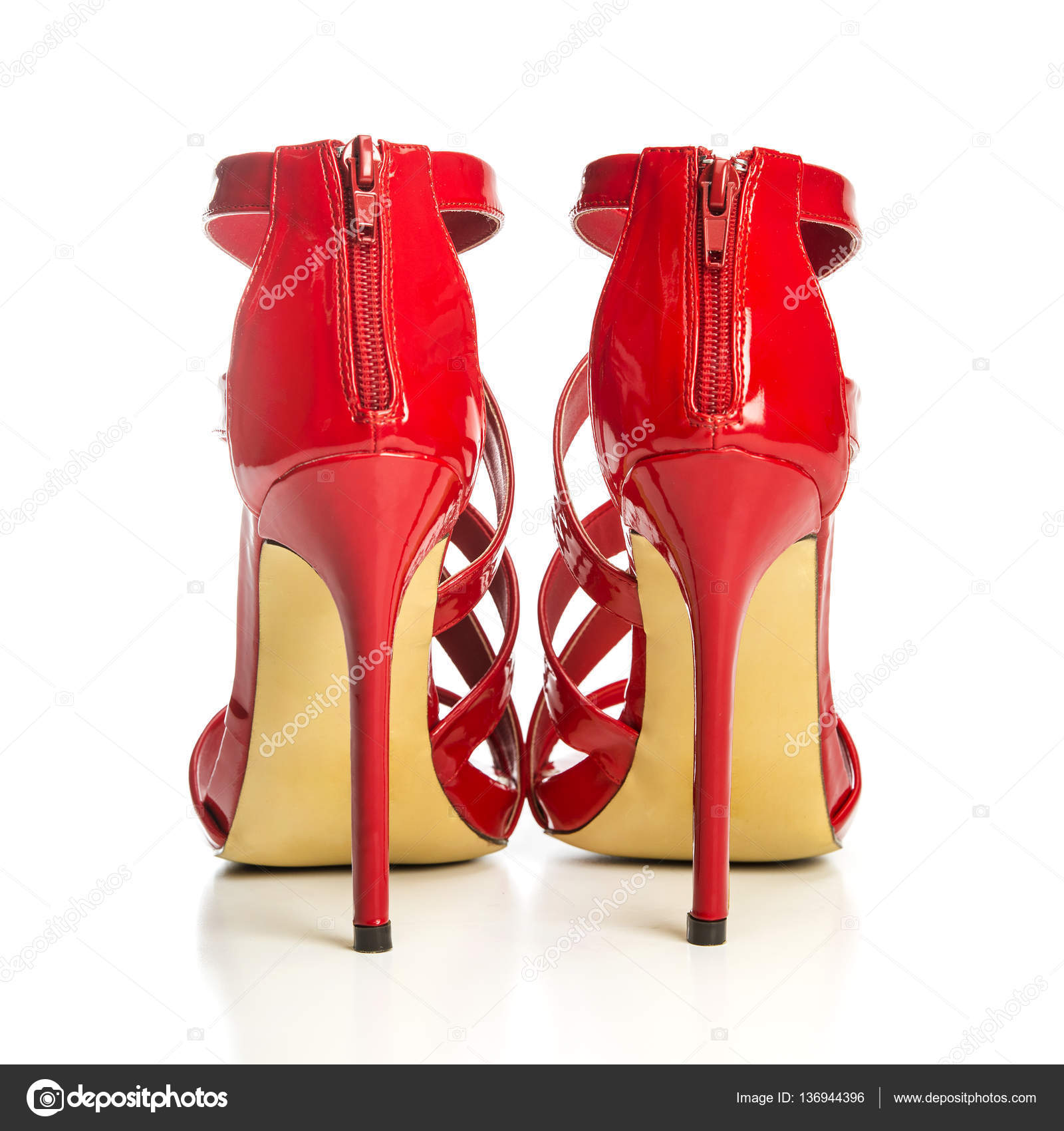 a8e99c50f Fashionable strappy high heels sandals in shiny red — Stock Photo ...