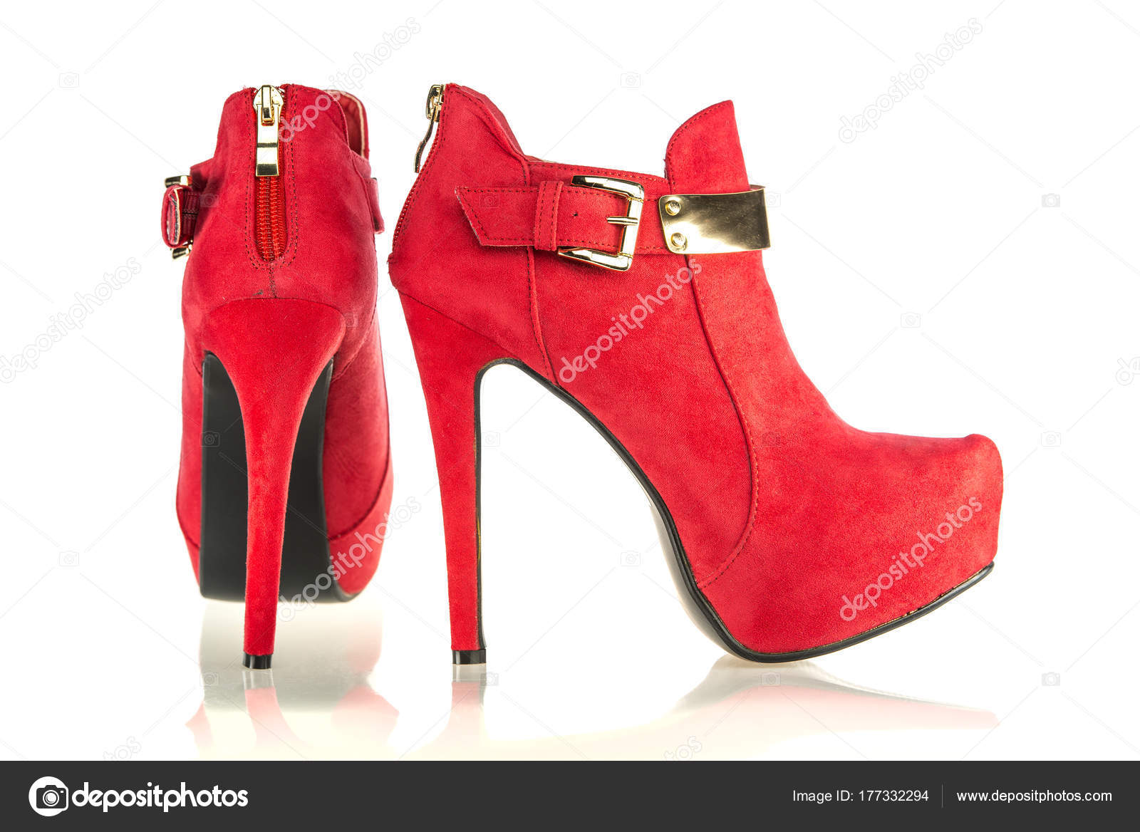d391ae12ed4 fashionable stiletto high heels ankle boots in red — Stock Photo ...