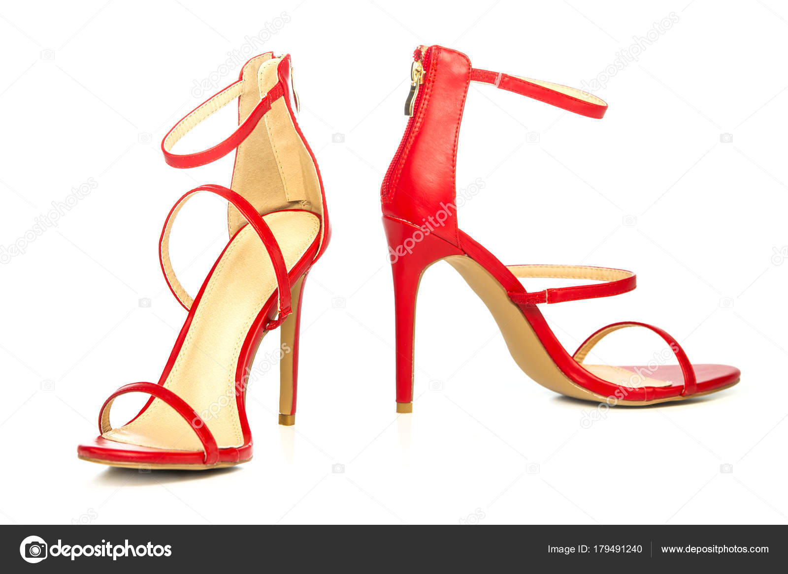 39ceb7271 Fashionable strappy high heels sandals in red — Stock Photo ...