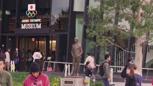 Video of a bronze statue of the founder of Olympics Games Pierre de Coubertin in front of the Olympic Rings monument of the Japan Olympic Museum for the Tokyo 2020 Olympic and Paralympic Games.