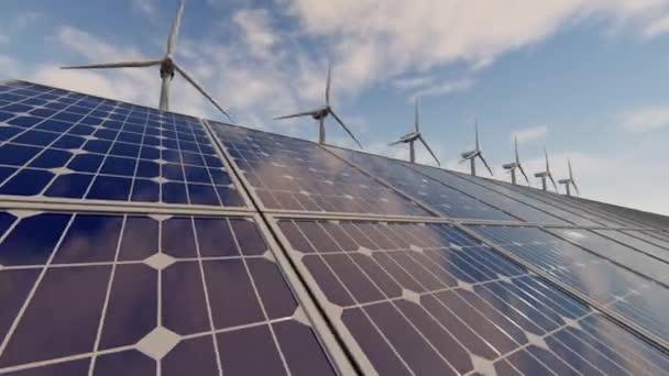 Výroba energie větrnými turbínami a solárními panely